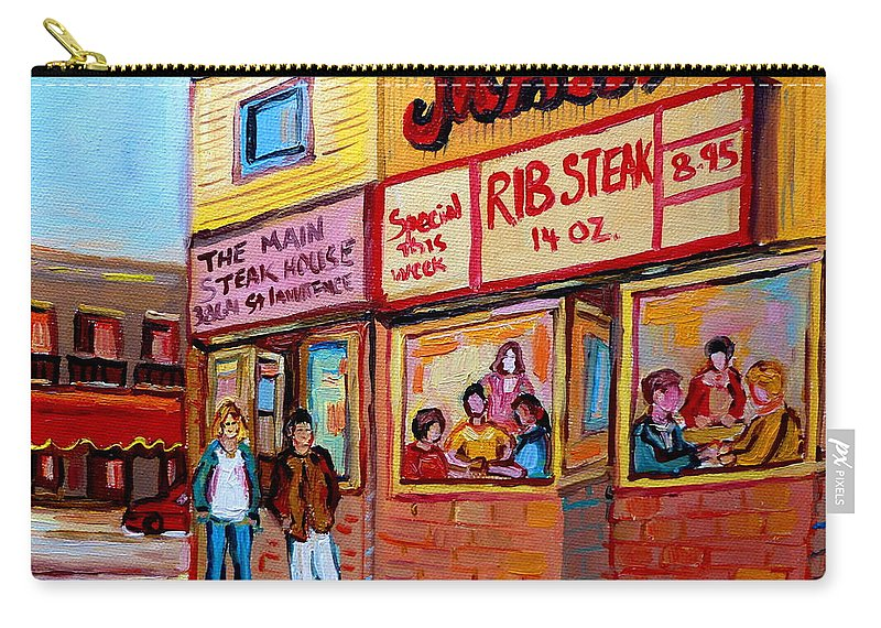 The Main Steakhouse Carry-all Pouch featuring the painting The Main Steakhouse On St. Lawrence by Carole Spandau