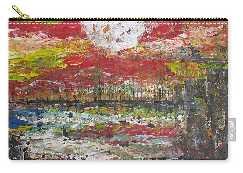 Nature Carry-all Pouch featuring the painting The Man And The Moon by Jacqueline Athmann