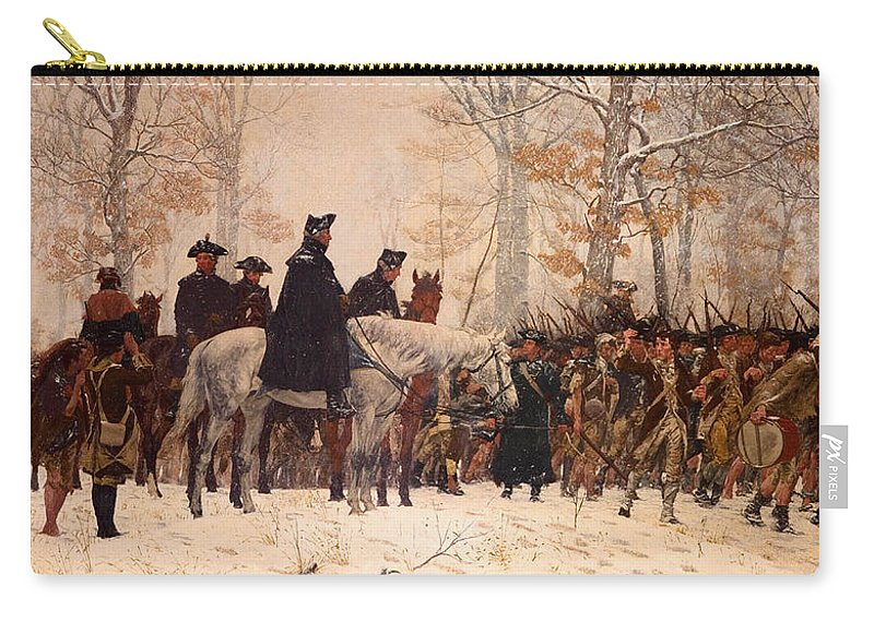 Painting Carry-all Pouch featuring the painting The March To Valley Forge by Mountain Dreams