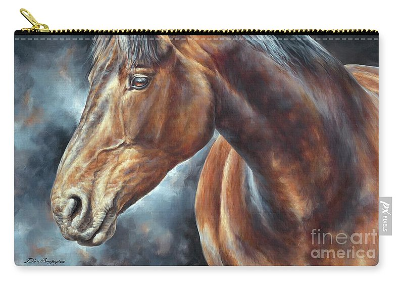 Horse Carry-all Pouch featuring the painting The Mare by Dina Perejogina