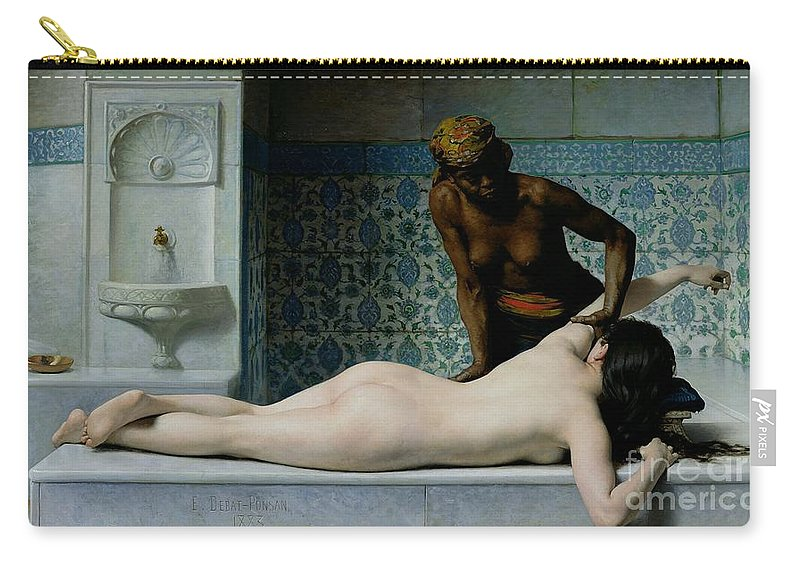 The Carry-all Pouch featuring the painting The Massage by Edouard Debat-Ponsan