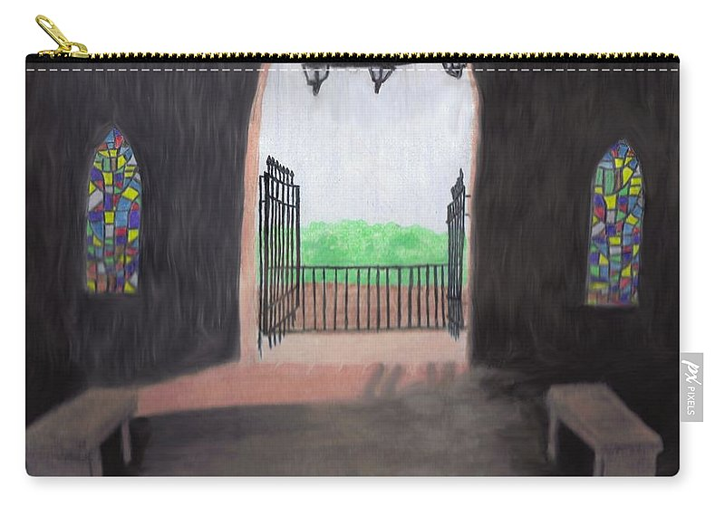 Mausoleum Carry-all Pouch featuring the drawing The Mausoleum by Jean Haynes