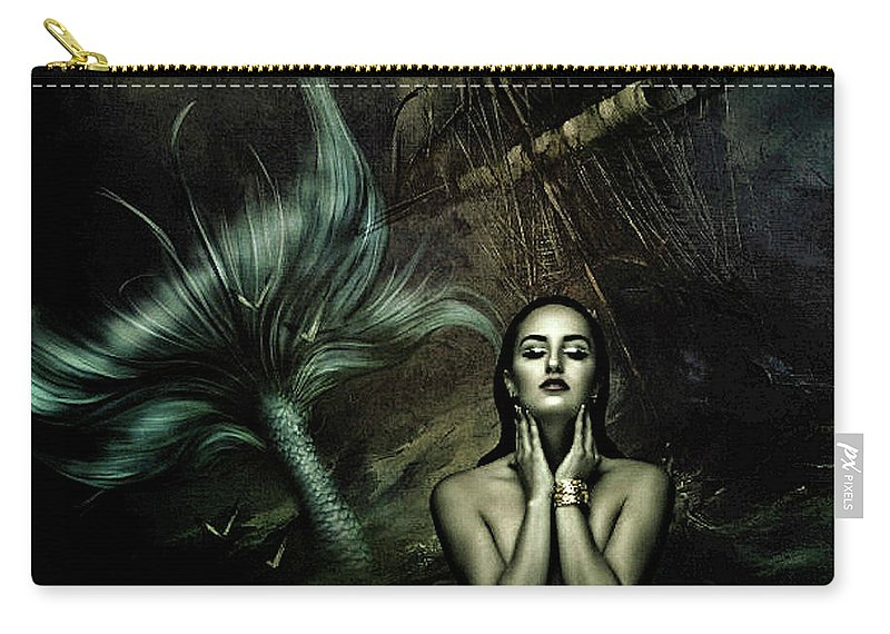 Sailor Carry-all Pouch featuring the mixed media The Mermaid And The Sailor by G Berry
