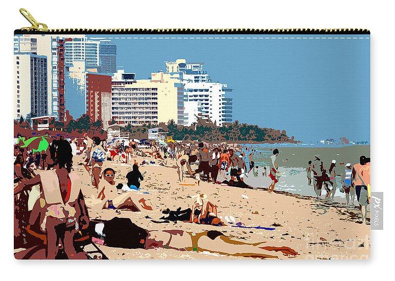 Miami Beach Florida Carry-all Pouch featuring the photograph The Miami Beach by David Lee Thompson