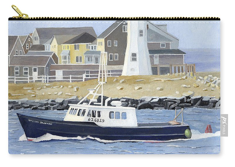 Fishingboat Carry-all Pouch featuring the painting The Michael Brandon by Dominic White