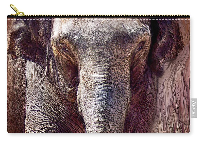 Elephant Carry-all Pouch featuring the mixed media The Mighty One by Carol Cavalaris