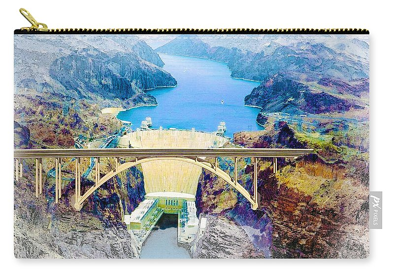Art & Collectibles Carry-all Pouch featuring the digital art The Mike O'callaghan Pat Tillman Memorial Bridge by Don Kuing