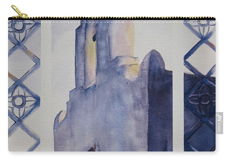 Texas Mission Carry-all Pouch featuring the painting The Mission In Evening Shadow by Karen Boudreaux