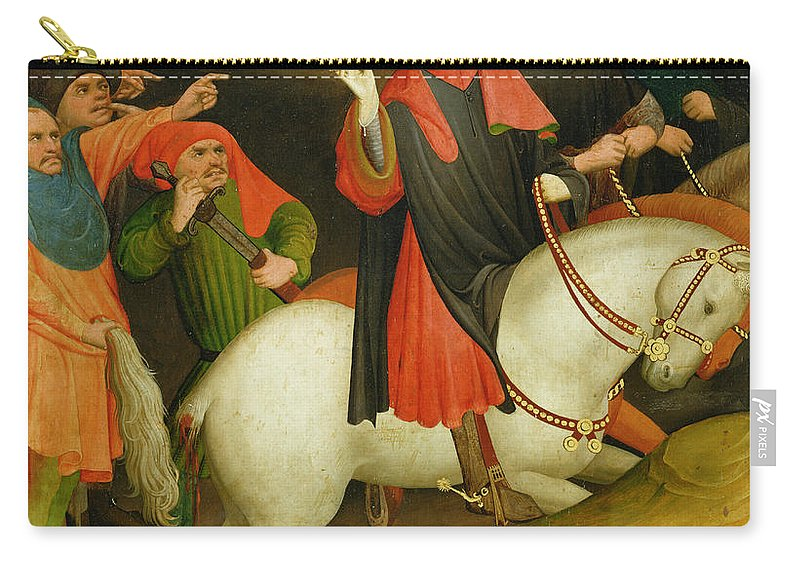 The Carry-all Pouch featuring the painting The Mocking Of Saint Thomas by Master Francke