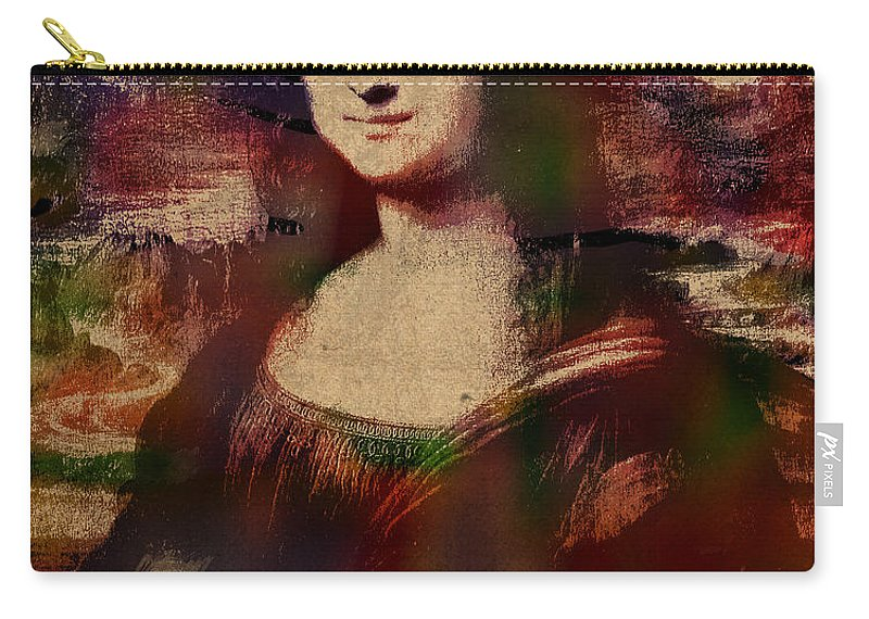 The Mona Lisa Carry-all Pouch featuring the mixed media The Mona Lisa Colorful Watercolor Portrait On Worn Canvas by Design Turnpike