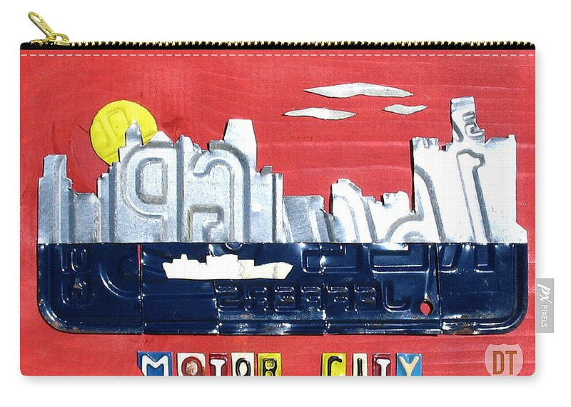 License Plate Map Carry-all Pouch featuring the mixed media The Motor City - Detroit Michigan Skyline License Plate Art By Design Turnpike by Design Turnpike