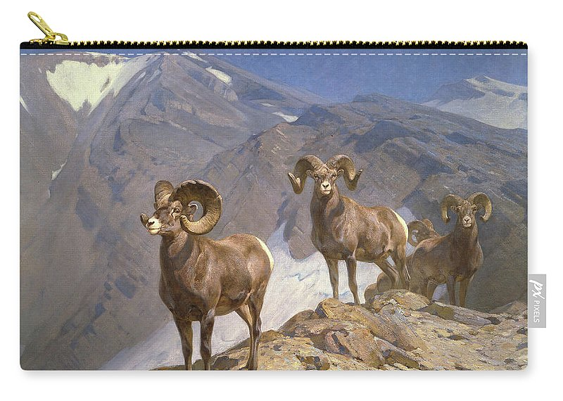 Big Horn Sheep Carry-all Pouch featuring the painting The Mountaineers-big Horn Sheep On Wilcox Pass by Rungius Carl