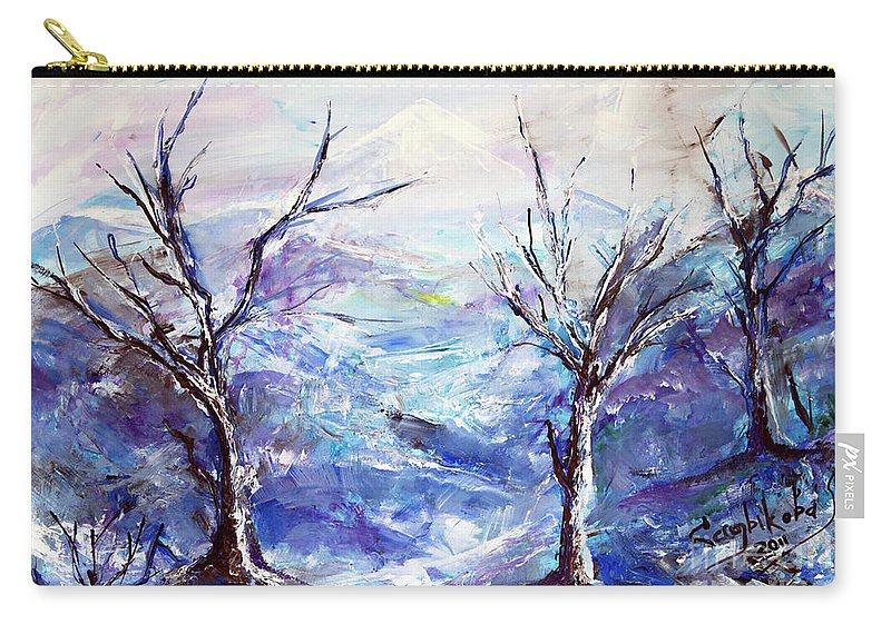 Landscape Carry-all Pouch featuring the painting The Mountains by Yana Sadykova