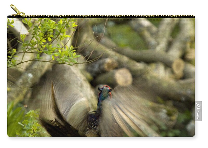 Pheasant Carry-all Pouch featuring the photograph The Movement by Angel Ciesniarska