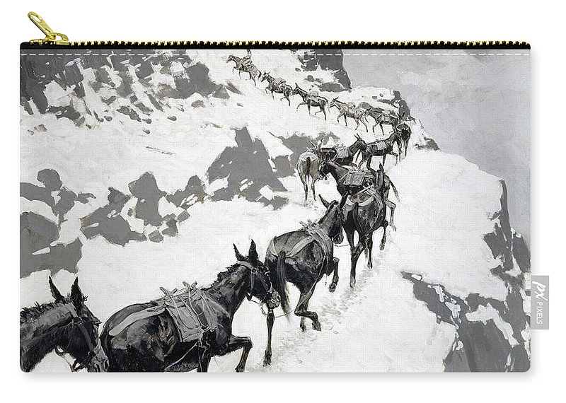 Mule Pack Carry-all Pouch featuring the painting The Mule Pack by Frederic Sackrider Remington