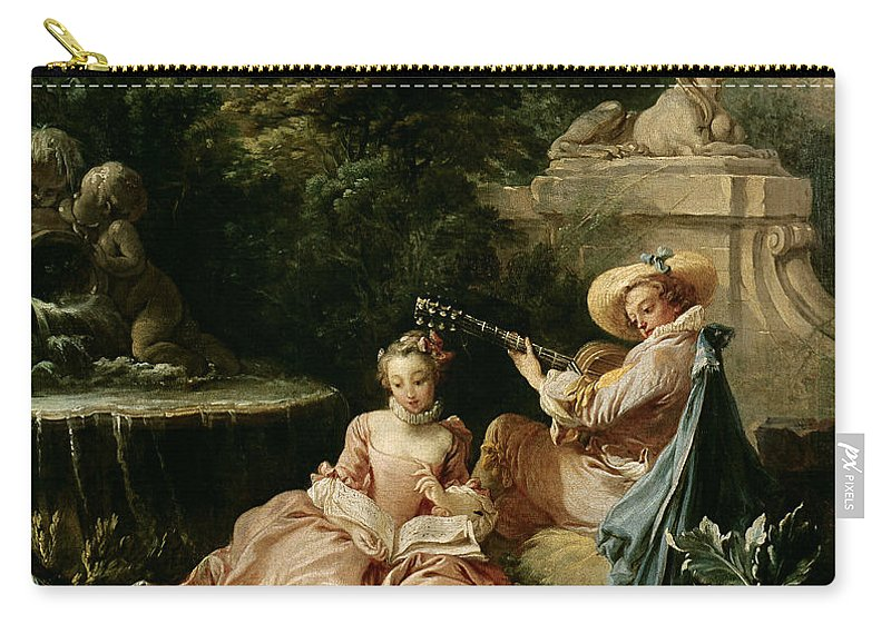 The Carry-all Pouch featuring the painting The Music Lesson by Francois Boucher