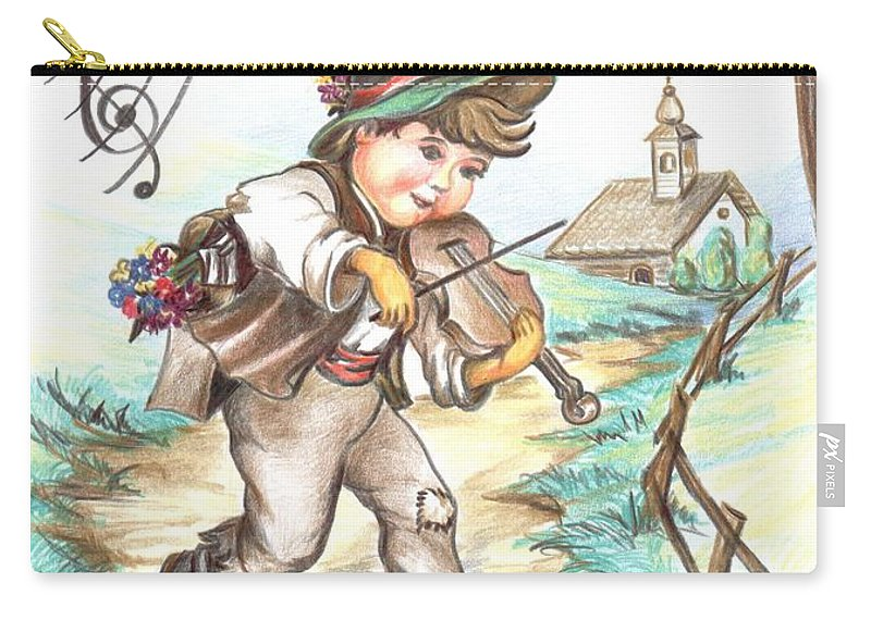 Musician Carry-all Pouch featuring the drawing The Musician by Sorin Apostolescu