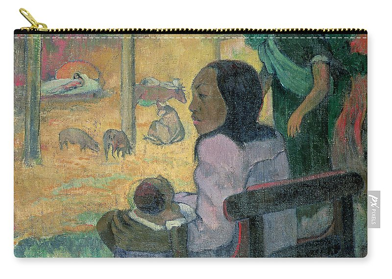 Be Be (the Nativity) Carry-all Pouch featuring the painting The Nativity by Paul Gauguin