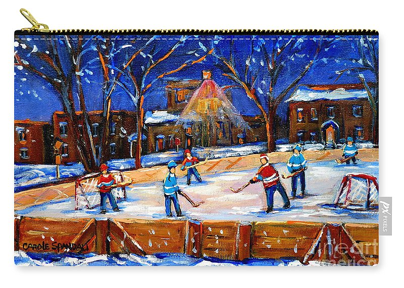 Montreal Carry-all Pouch featuring the painting The Neighborhood Hockey Rink by Carole Spandau