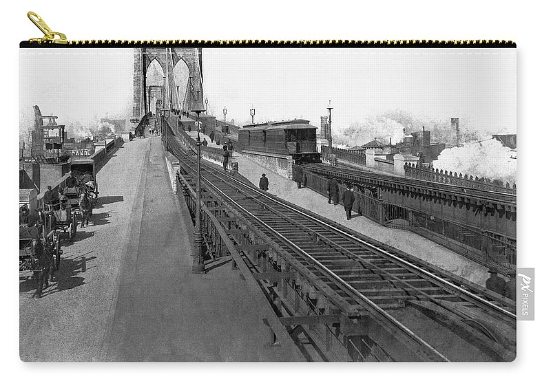 1887 Carry-all Pouch featuring the photograph The New Brooklyn Bridge by Underwood Archives