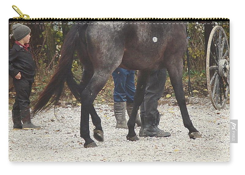 Angelandspot Carry-all Pouch featuring the photograph The New Horse by Cassie Peters