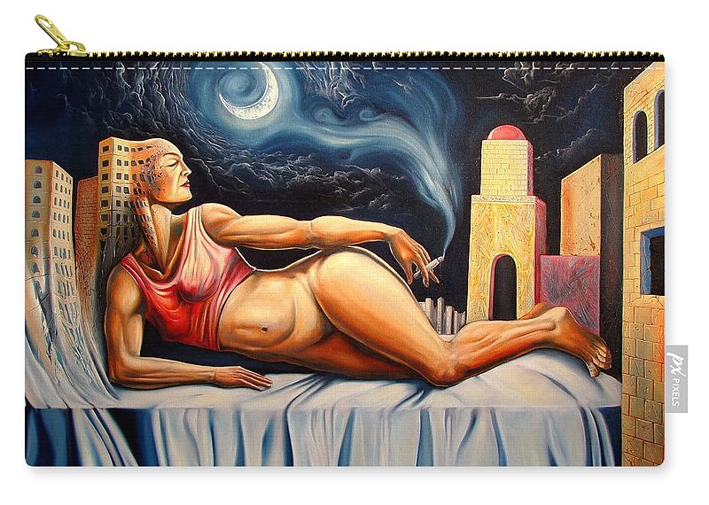 Surrealism Carry-all Pouch featuring the painting The Night Muse by Darwin Leon