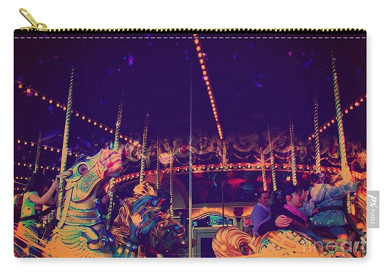 Surreal Carry-all Pouch featuring the digital art The Nightmare Carousel 22 by Marina McLain