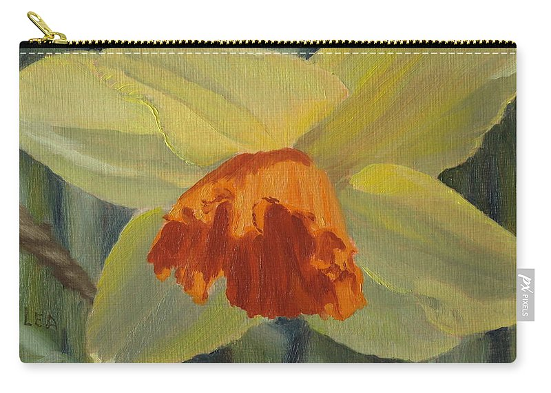 Flower Carry-all Pouch featuring the painting The Nodding Daffodil by Lea Novak