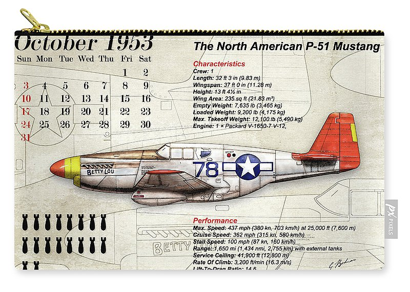 Airplane Carry-all Pouch featuring the digital art The North American P-51 Mustang V1 by Gary Bodnar