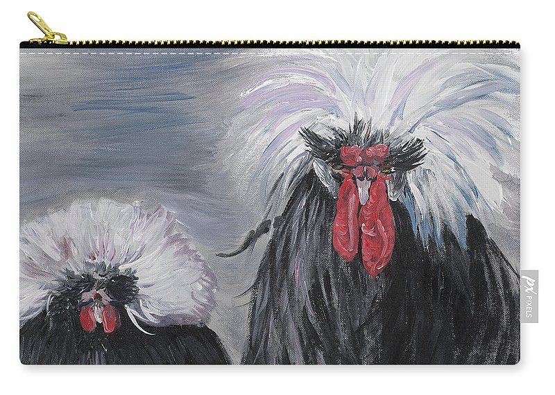 Odd Chickens With Wild Hair Carry-all Pouch featuring the painting The Odd Couple by Nadine Rippelmeyer
