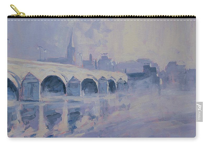 Maastricht Carry-all Pouch featuring the painting The Old Bridge In Morning Fog Maastricht by Nop Briex