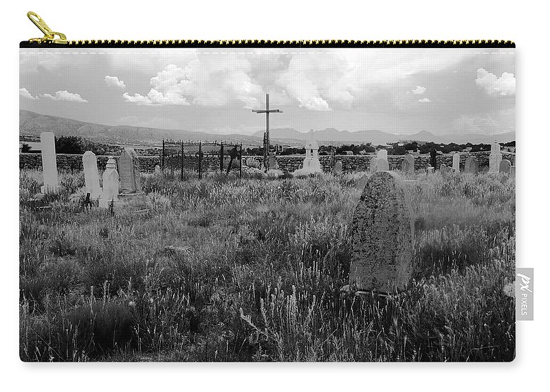 Galisteo New Mexico Carry-all Pouch featuring the photograph The Old Cemetery At Galisteo by David Lee Thompson