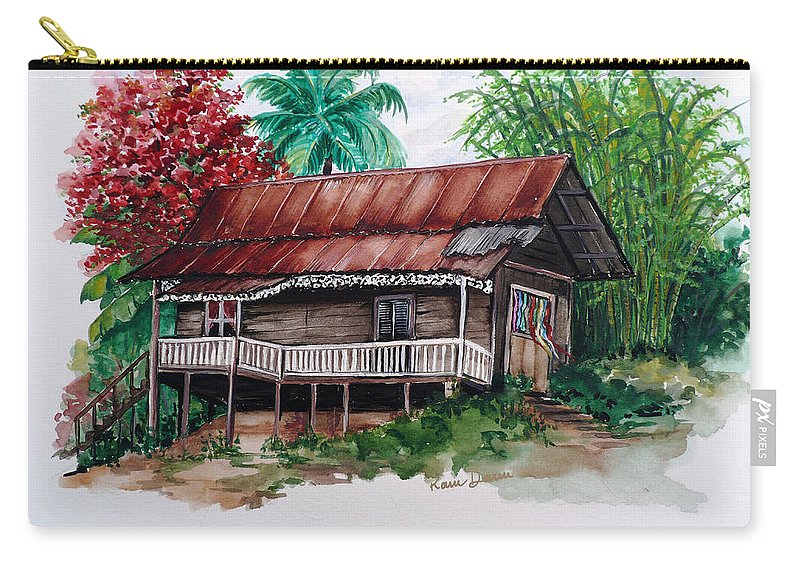 Tropical Painting Poincianna Painting Caribbean Painting Old House Painting Cocoa House Painting Trinidad And Tobago Painting  Tropical Painting Flamboyant Painting Poinciana Red Greeting Card Painting Carry-all Pouch featuring the painting The Old Cocoa House by Karin Dawn Kelshall- Best