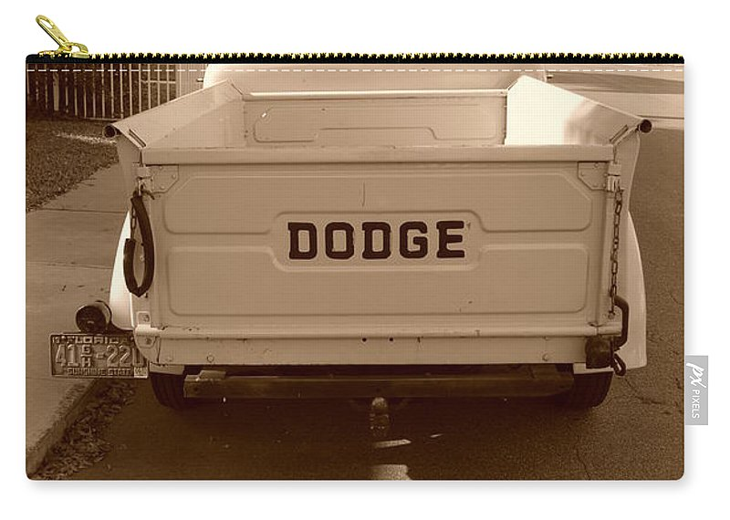 Sepia Carry-all Pouch featuring the photograph The Old Dodge by Rob Hans