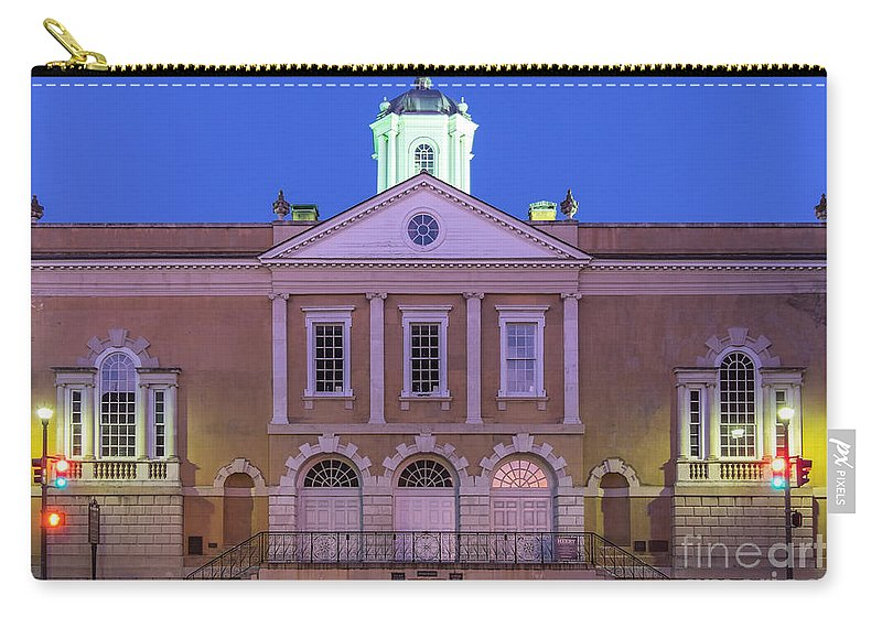 Old Provost Dungeon Carry-all Pouch featuring the photograph The Old Exchange And Provost Dungeon At Twilight Charleston South Carolina by Dawna Moore Photography