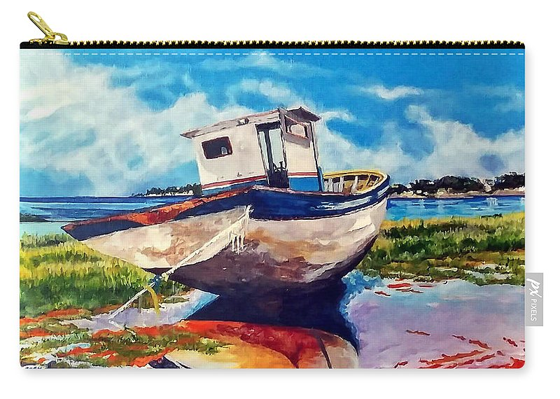 Boat Carry-all Pouch featuring the painting The Old Fishing Boat by Terry Ganey