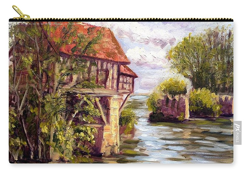 Mill Carry-all Pouch featuring the painting The Old Mill Of Vernon by Elena Sokolova