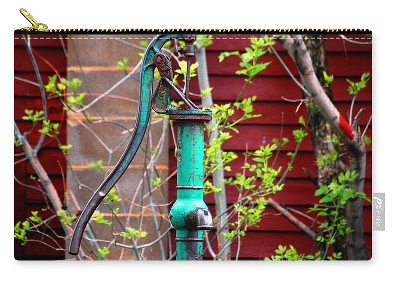 Photography Carry-all Pouch featuring the photograph The Old Rusty Water Pump by Susanne Van Hulst