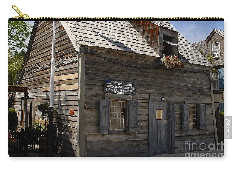 Saint Augustine Florida Carry-all Pouch featuring the photograph The Oldest School House by David Lee Thompson