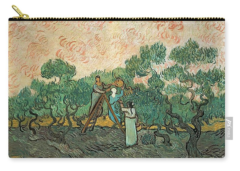 The Carry-all Pouch featuring the painting The Olive Pickers by Vincent van Gogh