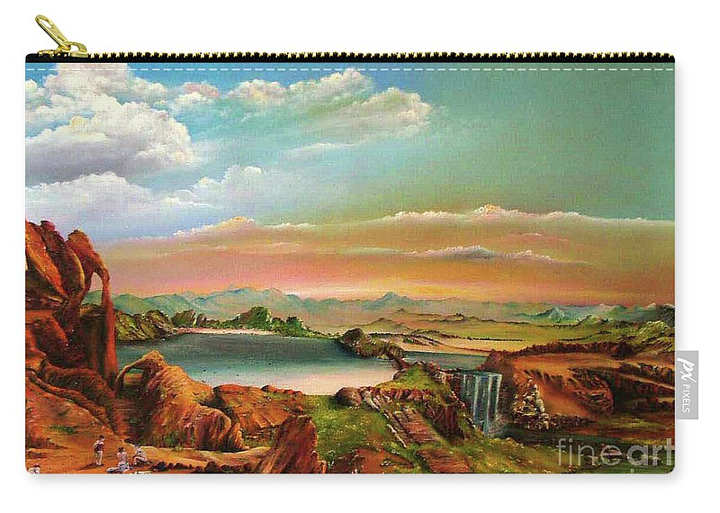 Landscape Carry-all Pouch featuring the painting The Oppression by Ilona Van Hoek