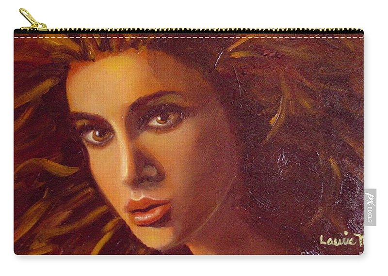 Portrait Carry-all Pouch featuring the painting The Oracle by Laurie Morgan