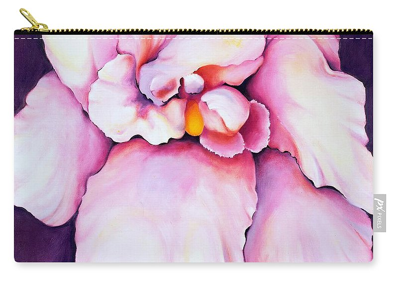 Orcdhid Bloom Artwork Carry-all Pouch featuring the painting The Orchid by Jordana Sands