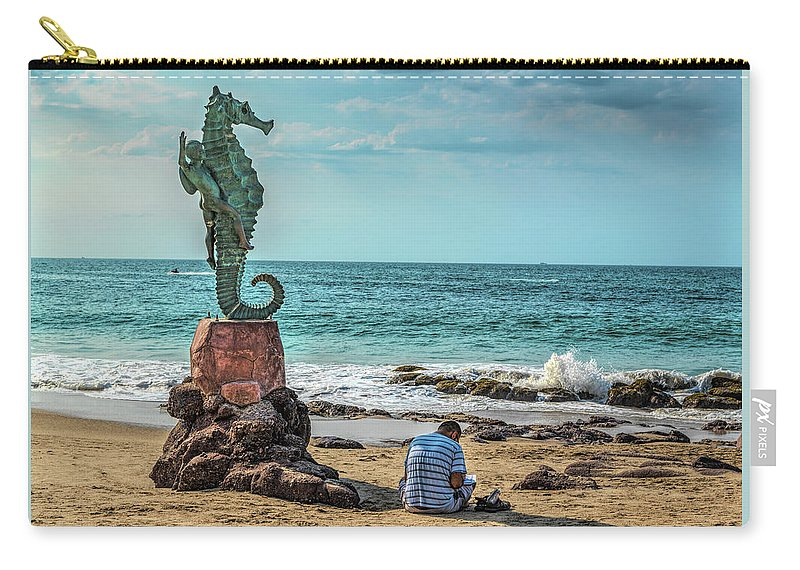 Art Carry-all Pouch featuring the photograph The Original Boy On The Seahorse by Paul LeSage
