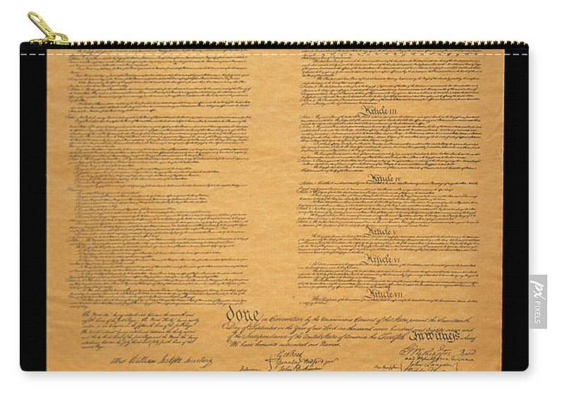Photography Carry-all Pouch featuring the photograph The Original United States Constitution by Panoramic Images