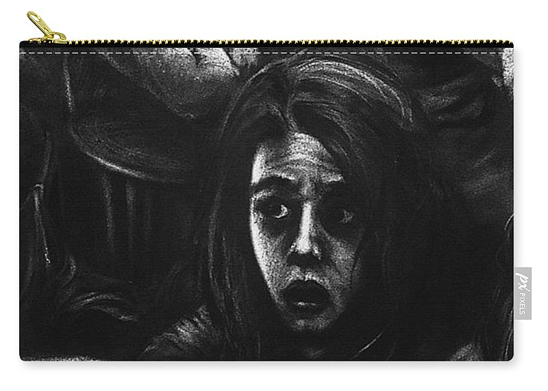 Black Carry-all Pouch featuring the drawing The Outsider's Restless Mind by Jesse Vachon