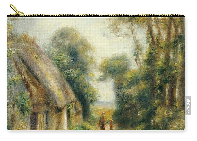 Impressionist; Impressionism; Landscape; Tree; Cottage; Lane Carry-all Pouch featuring the painting The Outskirts Of Berneval by Pierre Auguste Renoir