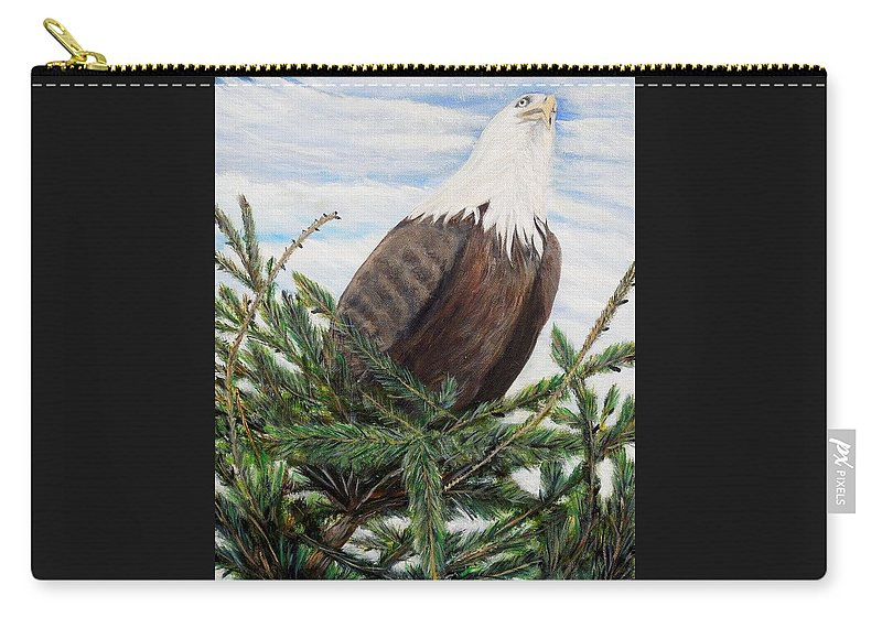 Eagle Carry-all Pouch featuring the painting The Oversee'er by Marilyn McNish