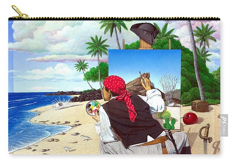 Pirate Carry-all Pouch featuring the painting The Painting Pirate by Snake Jagger