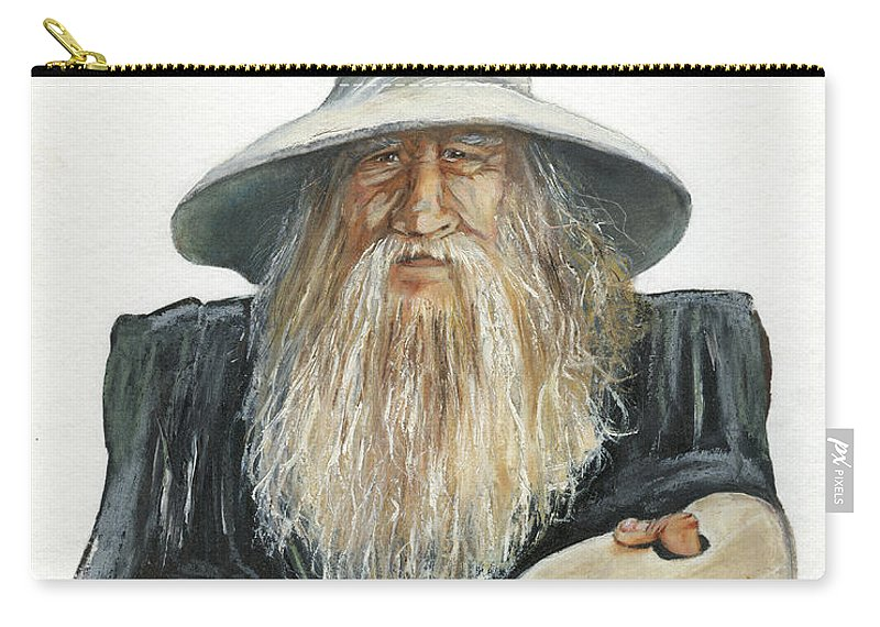 Wizard Carry-all Pouch featuring the painting The Painting Wizard by J W Baker